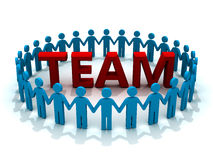 Team. 3d people in circle around 3d team text royalty free illustration