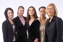 The team. Business team of five persons, an elderly woman is leading Royalty Free Stock Photography