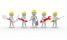 Team. 3d people - human character, team of construction workers  and  construction engineer.  3d render illustration Stock Photography