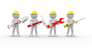 Team. 3d people - human character, team of construction workers with equipment.  3d render illustration Stock Photography