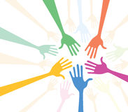 Team. Of differently coloured hands Stock Photo