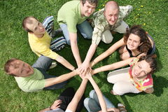 Team. People with palms together - shot from above Royalty Free Stock Photos