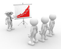 Team. 3d people - men, person presenting at a  financial chart. Leadership and team Stock Image