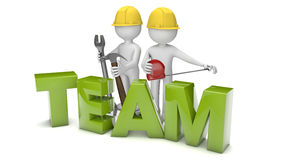 Team. Render of two workers and the text team Stock Image