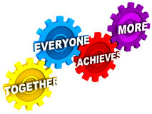 Team. Together everyone achieves more, expanded meaning of word team on gears or cogs, showing synchronization and harmony as underlying principle of teamwork Stock Photos