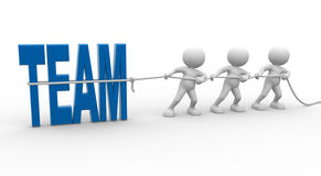 Team. 3d people - man, person with rope pulling and word team Royalty Free Stock Photo