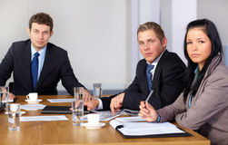 Team of 3 business people during meeting Stock Images