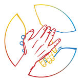 Team. Three hands one on another one Vector Illustration