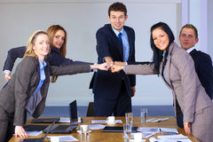 Team of 5 business people, teamwork concept stock photos