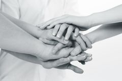 Team. Business team put hands together royalty free stock images