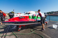 Team Abu Dhabi boat preparations Royalty Free Stock Image