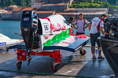 Team Abu Dhabi boat preparations Stock Image