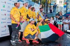 Team Abu Dhabi en Victory Ceremony Imagen de archivo