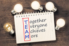 Team Acronym and Bulbs Royalty Free Stock Image