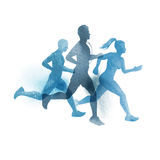 A team of active runners. Watercolour vector illustration Stock Photo