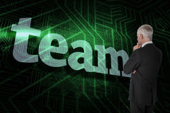 Team against green and black circuit board Royalty Free Stock Images