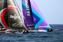 Team Akzonobel and Scallywagin race after leave the port of Alicante. Team Akzonobel and Scallywag moments after start Leg 1 Alicante-Lisbon of the Volvo Ocean Stock Image