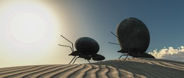 Team of ants moving stones 3d illustration. Concept work, team of ants moving stones 3d illustration royalty free stock photography