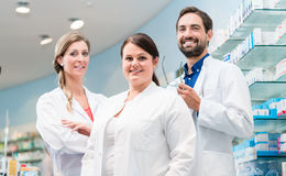 Team of apothecaries in pharmacy royalty free stock photos