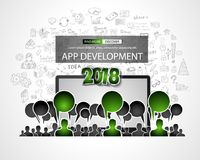 Team App Development  concept with Business Doodle design style Stock Photography