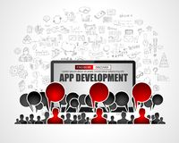 Team App Development  concept with Business Doodle design style Royalty Free Stock Images