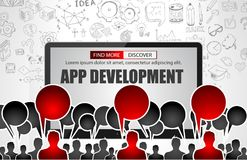 Team App Development  concept with Business Doodle design style Royalty Free Stock Image