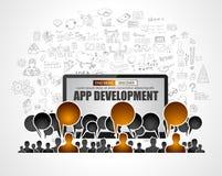 Team App Development-concept met de stijl van het Bedrijfskrabbelontwerp: vector illustratie
