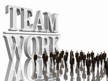 Team-Arbeit über Weiß. Lizenzfreies Stockbild