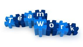 Team-Arbeitspuzzlespieltext Stockfoto