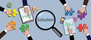 Team arbetar tillsammans för att finna en lösningsvektor stock illustrationer