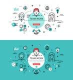 team arbete Plana linjära hjältebilder och hjältebaner planlägger vektor illustrationer
