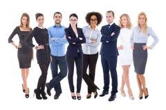 Team arbetsbegreppet - stor uppsättning av affärsfolk som isoleras på whi Arkivbild