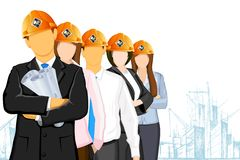 Team of Architect. Illustration of team of architect wearing hardhat on under construction site Stock Photography