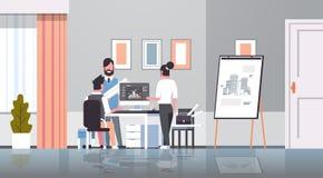 Team architect engineers drawing blueprint urban building plan on computer panning design project concept office. Draftsman studio interior horizontal full royalty free illustration