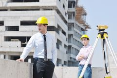Team of architects on construciton site Stock Photos