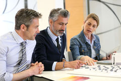 Team of architects in a meeting. Architects working together on real-estate project Royalty Free Stock Images