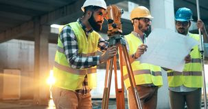 Team of architects people in group on construciton site Stock Images