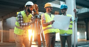 Team of architects people in group on construciton site Royalty Free Stock Photography