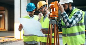 Team of architects people in group on construciton site Royalty Free Stock Images