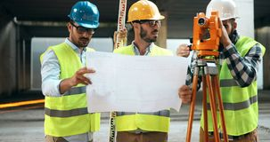 Team of architects people in group on construciton site Royalty Free Stock Photos