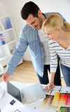 Team of architects using laptop Royalty Free Stock Photos