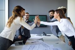 Team of architects working on construction plans. Together royalty free stock photos