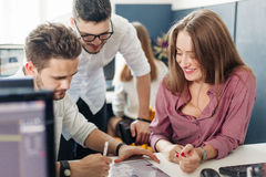 Team of architects working in office royalty free stock photos
