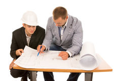 Team of architects working on a plan Stock Images