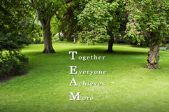 TEAM as TOGETHER EVERYONE ACHIEVES MORE written on green grass background with available copy space. Motivational Concept image. Royalty Free Stock Photos