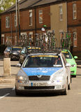 Team Asea support car in cycle race. Team Asea Renu 28 support car in cycle race with cycles and bikes on its roof Stock Photography