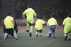 Team of Asian boy warming up for football Stock Image