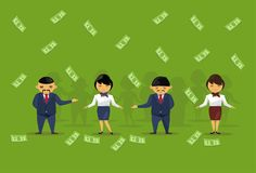 Team Of Asian Business People Holding Dollar Banknotes Salary Or Financial Success Wealth Profit Concept. Flat Vector Illustration Stock Photography