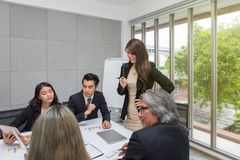 Team of asian business posing in meeting room. Working brainstorming at spacious board room at the office. asian people at office stock photography