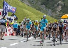 Team Astana on Col du Lautaret royalty free stock photography